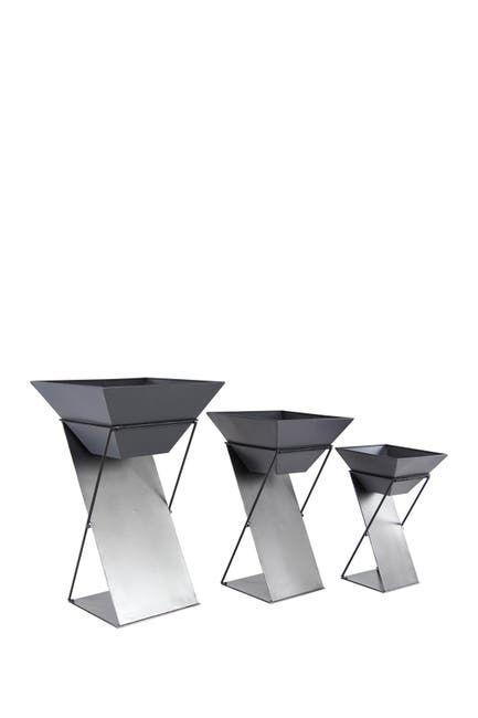 Image of Willow Row Grey Modern Tin Plant Stand - Set of 3