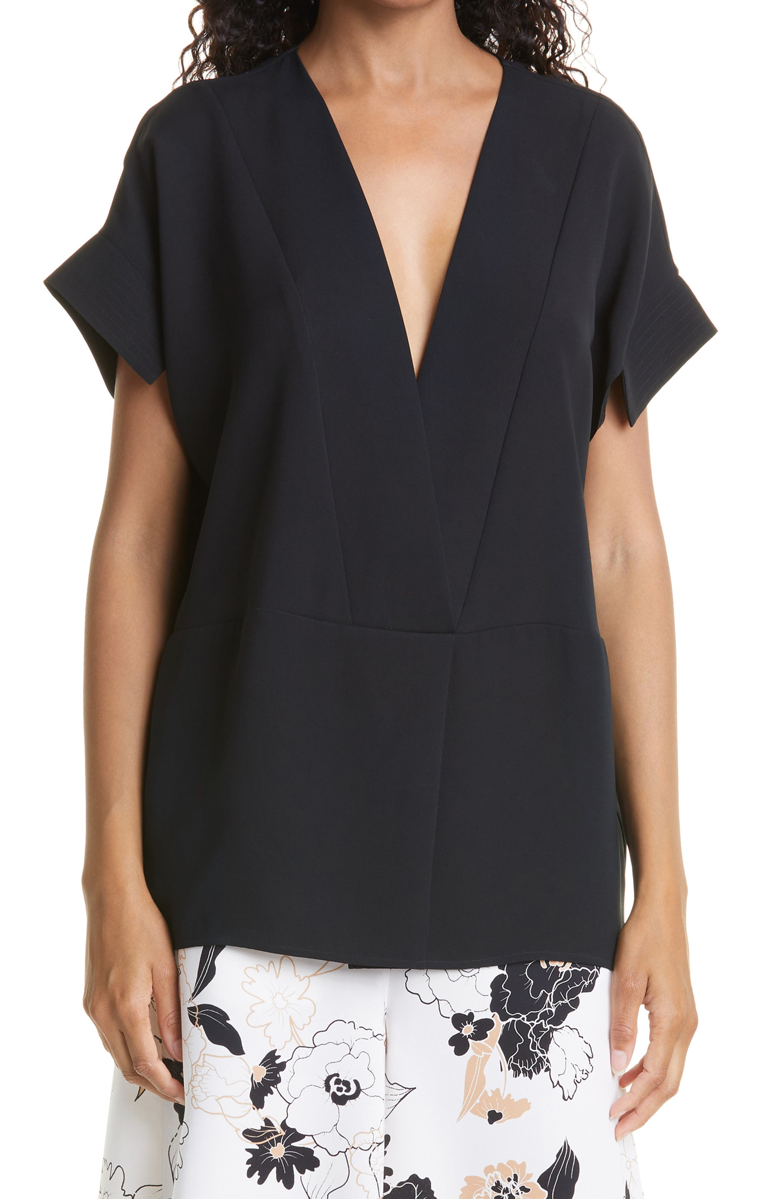 Giselle Plunge Neck Silk Top
