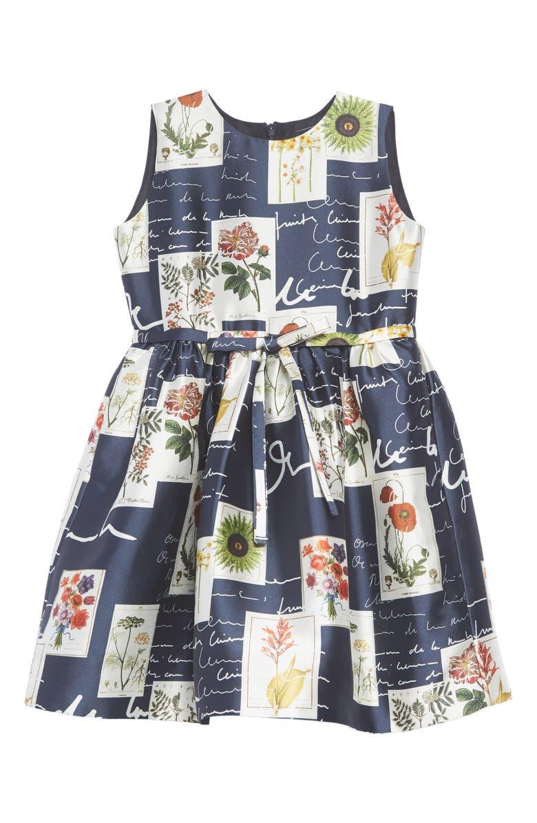 OSCAR DE LA RENTA Botanical Flowers & Scribble Sleeveless Dress, Main, color, 410