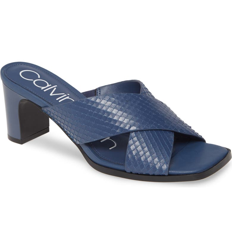 CALVIN KLEIN Dylan Armatura Slide Sandal, Main, color, DARK STEEL BLUE LEATHER