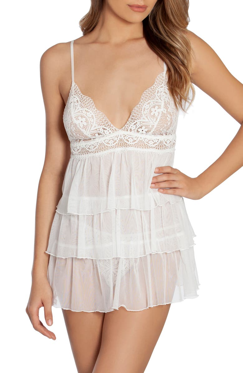 IN BLOOM BY JONQUIL Lilly Tiered Babydoll Chemise, Main, color, IVORY