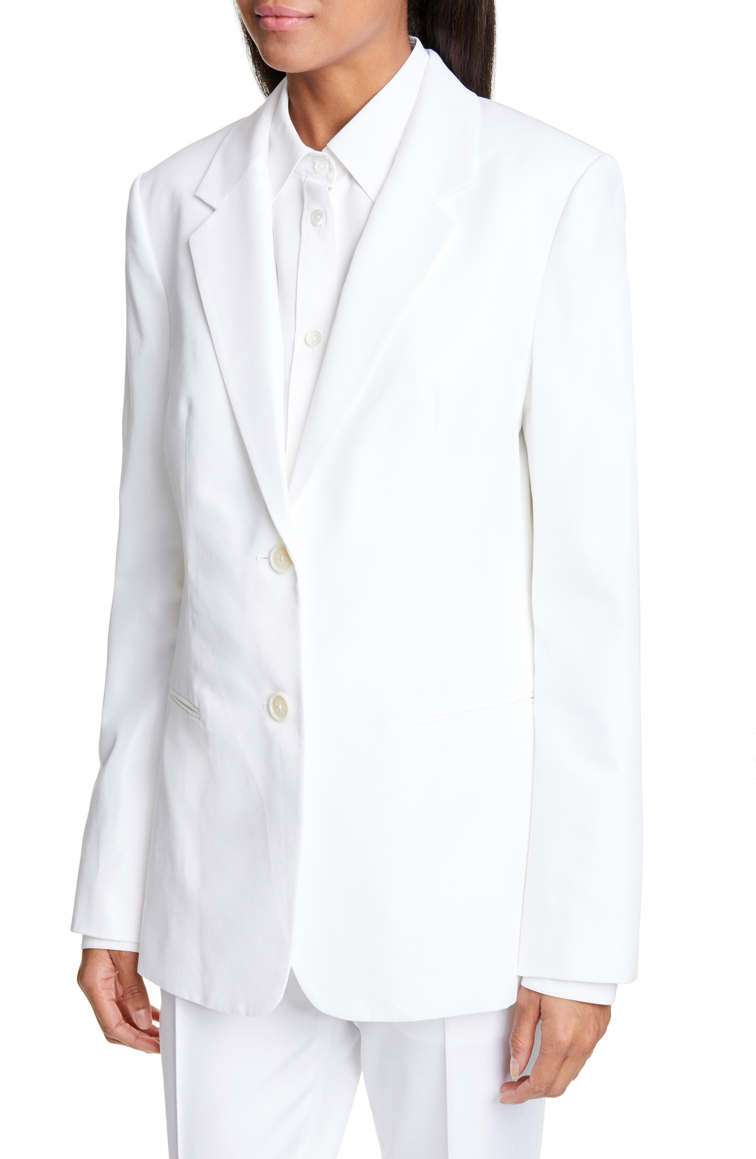 ,                             Cotton Blend Blazer,                             Alternate thumbnail 5, color,                             WHITE