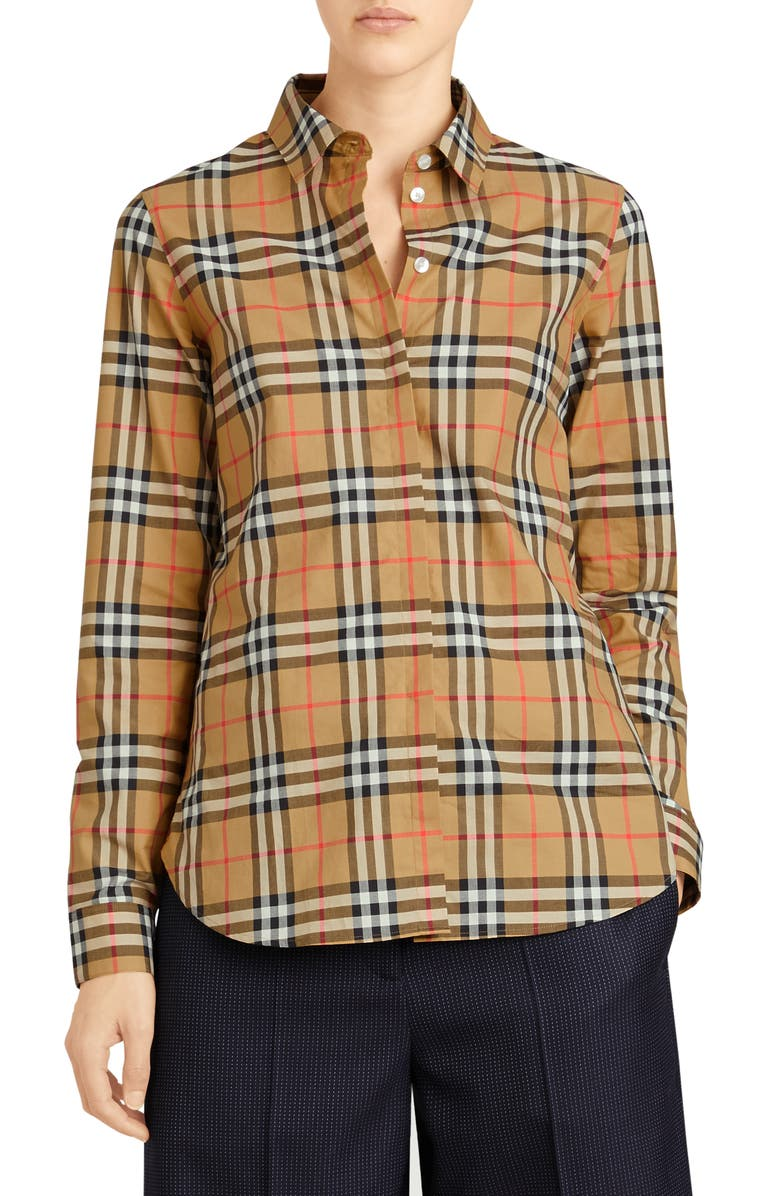 BURBERRY Crow Vintage Check Shirt, Main, color, ANTIQUE YELLOW CHECK