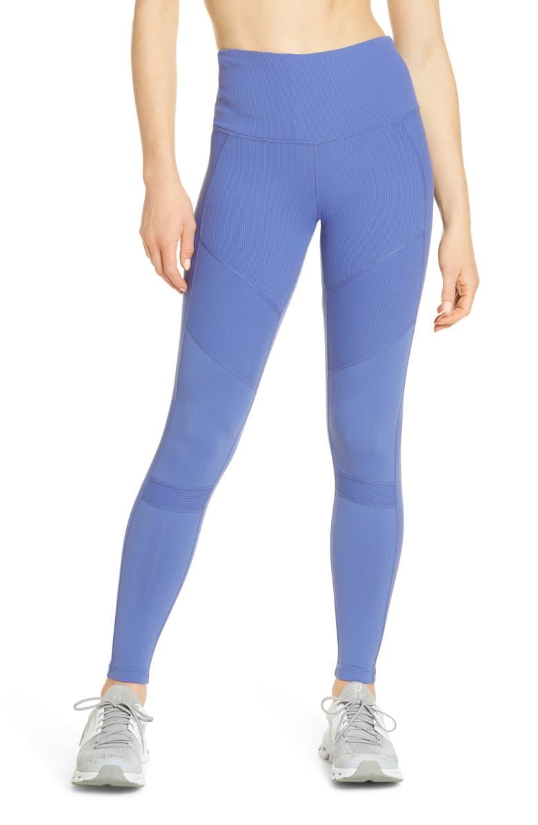 ZELLA Moto Ribbed High Waist Ankle Leggings, Main, color, BLUE MARLIN