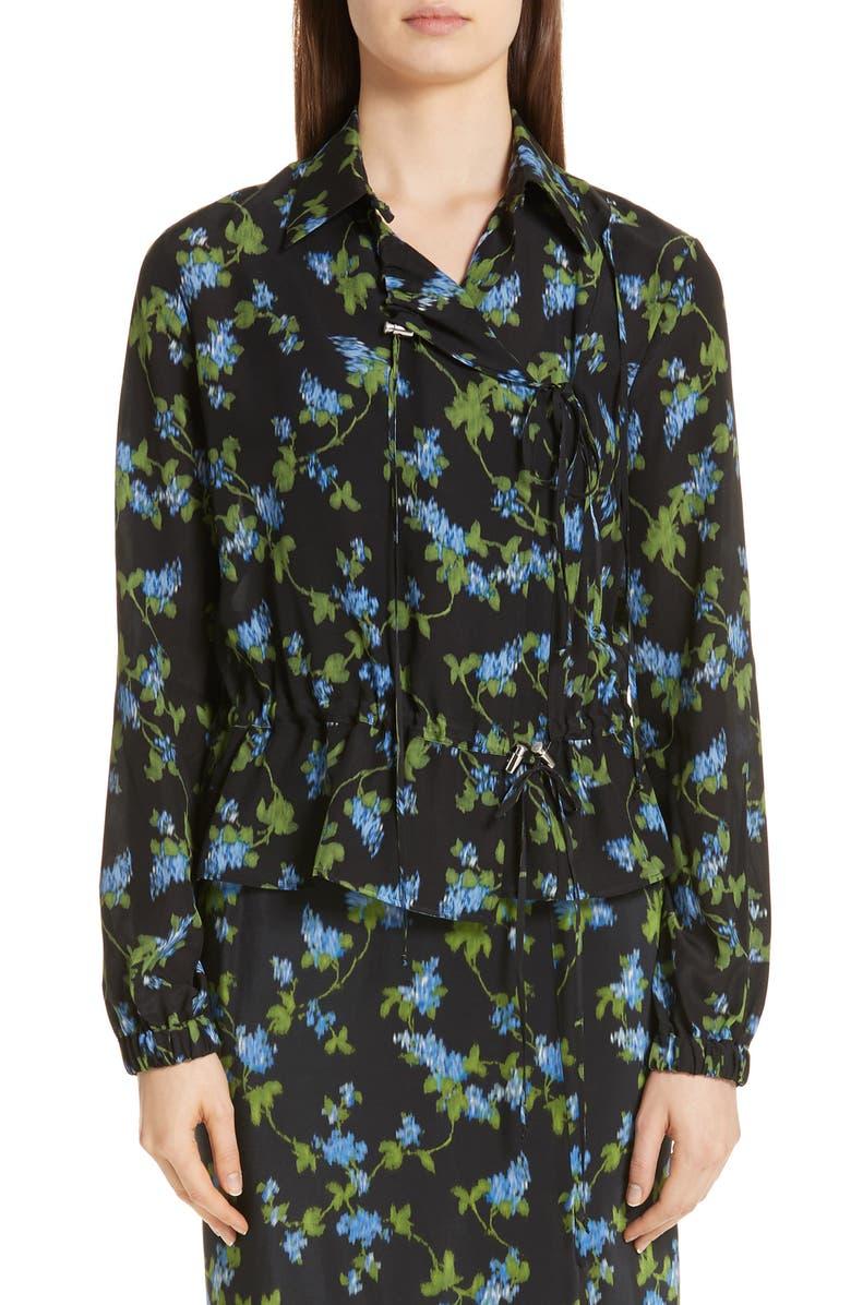 ALTUZARRA Floral Print Silk Jacket, Main, color, 001