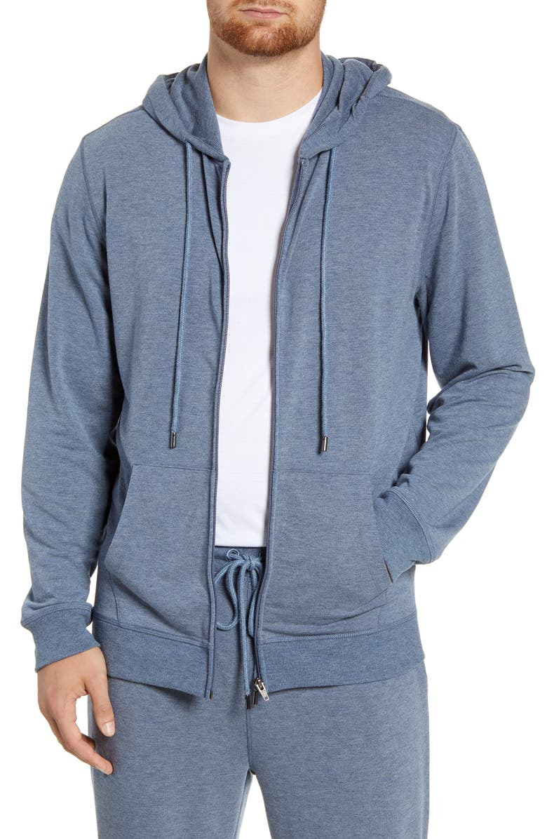 DANIEL BUCHLER Stretch Zip Hoodie, Main, color, BLUE HEATHER