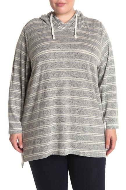 Image of Workshop Striped Brushed Knit Pullover Hoodie
