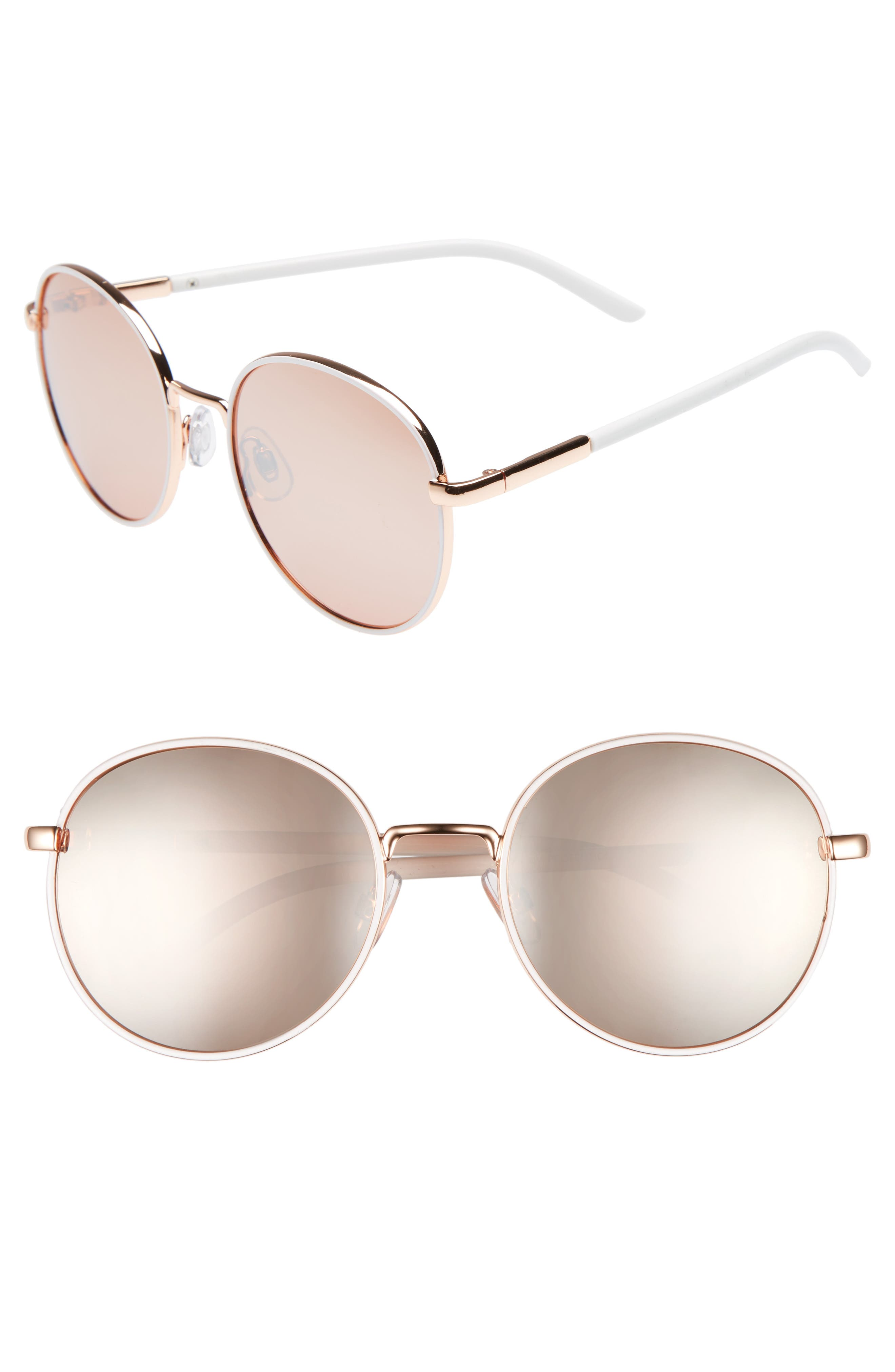 55mm Round Sunglasses, Main, color, WHITE/ ROSE GOLD