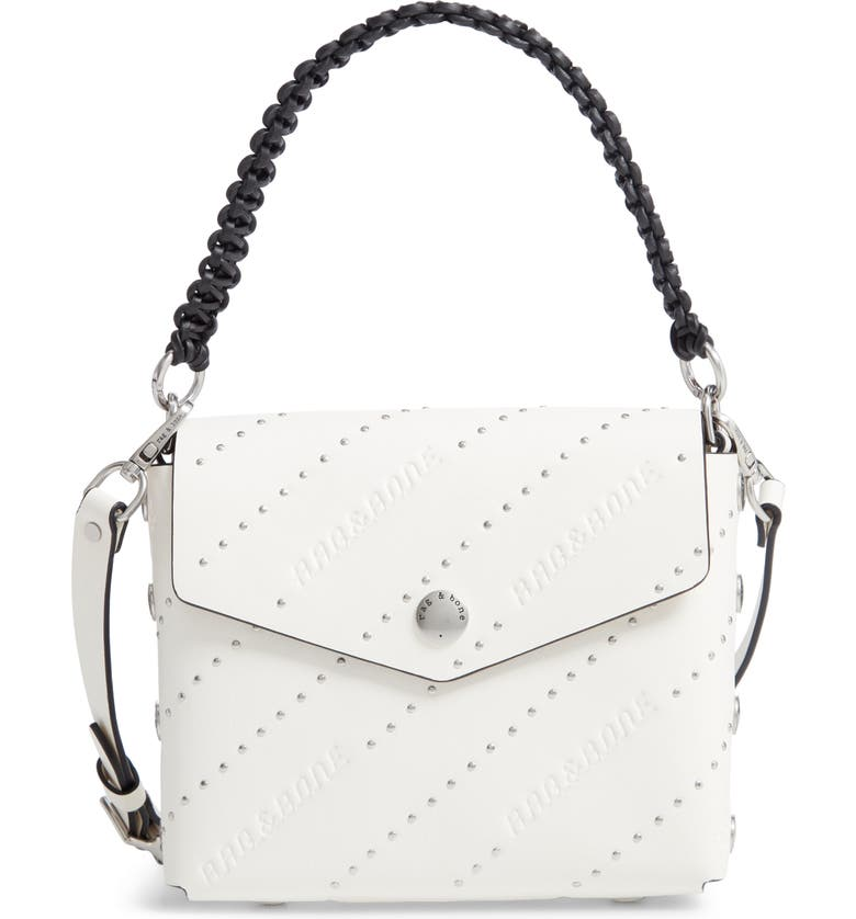 RAG & BONE Atlas Studded Leather Shoulder Bag, Main, color, ANTIQUE WHITE