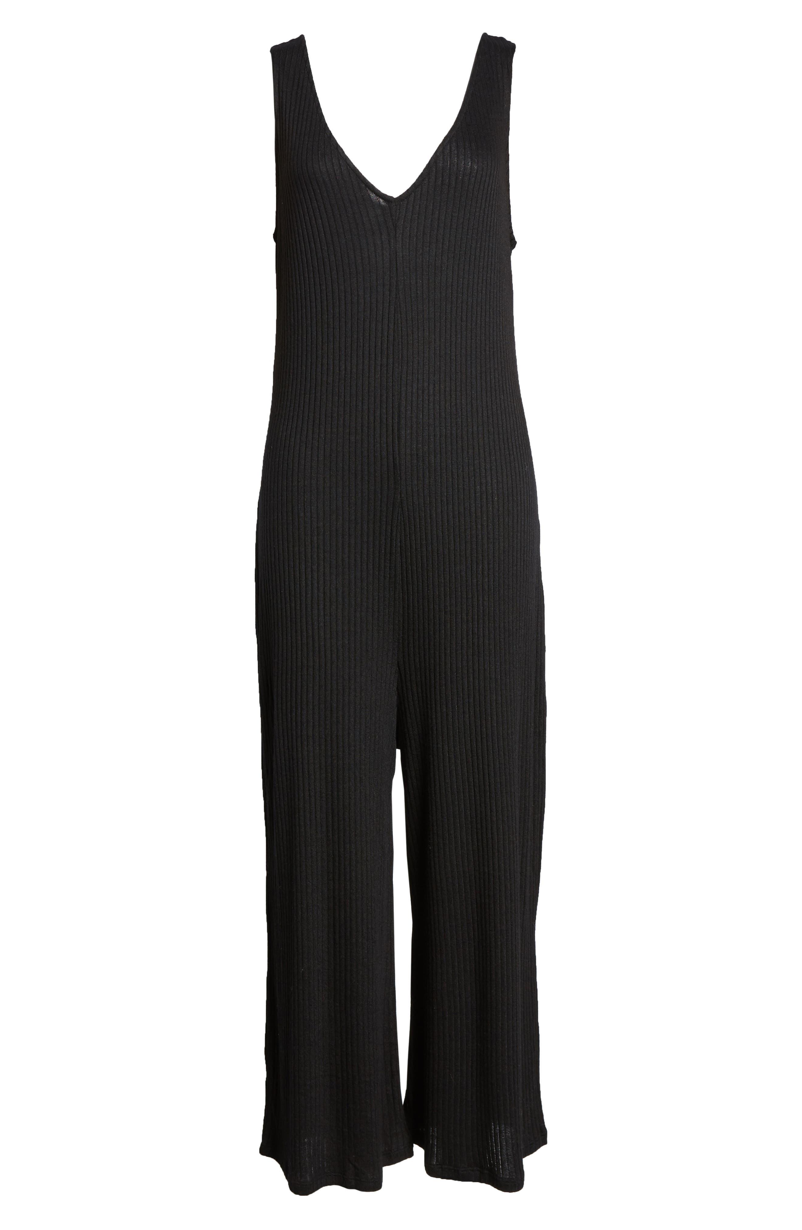 ,                             Ribbed Wide Leg Crop Jumpsuit,                             Alternate thumbnail 7, color,                             BLACK
