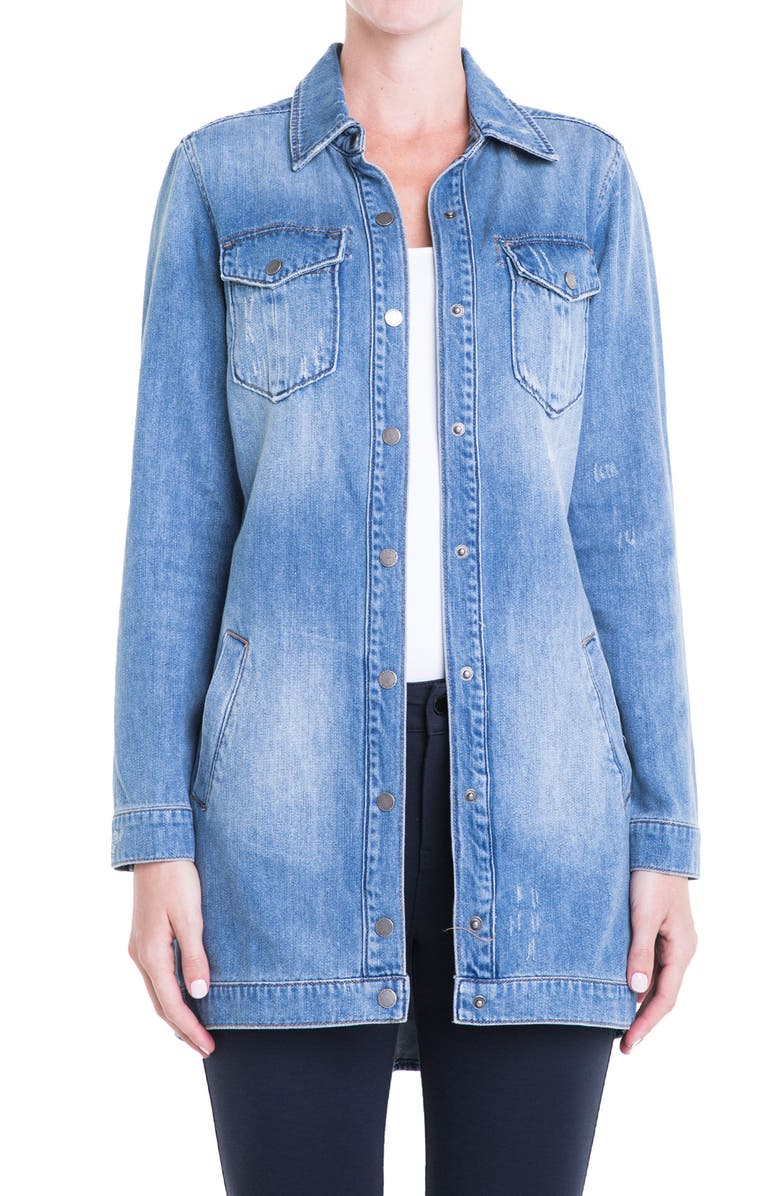 LIVERPOOL Long Denim Jacket, Main, color, 404