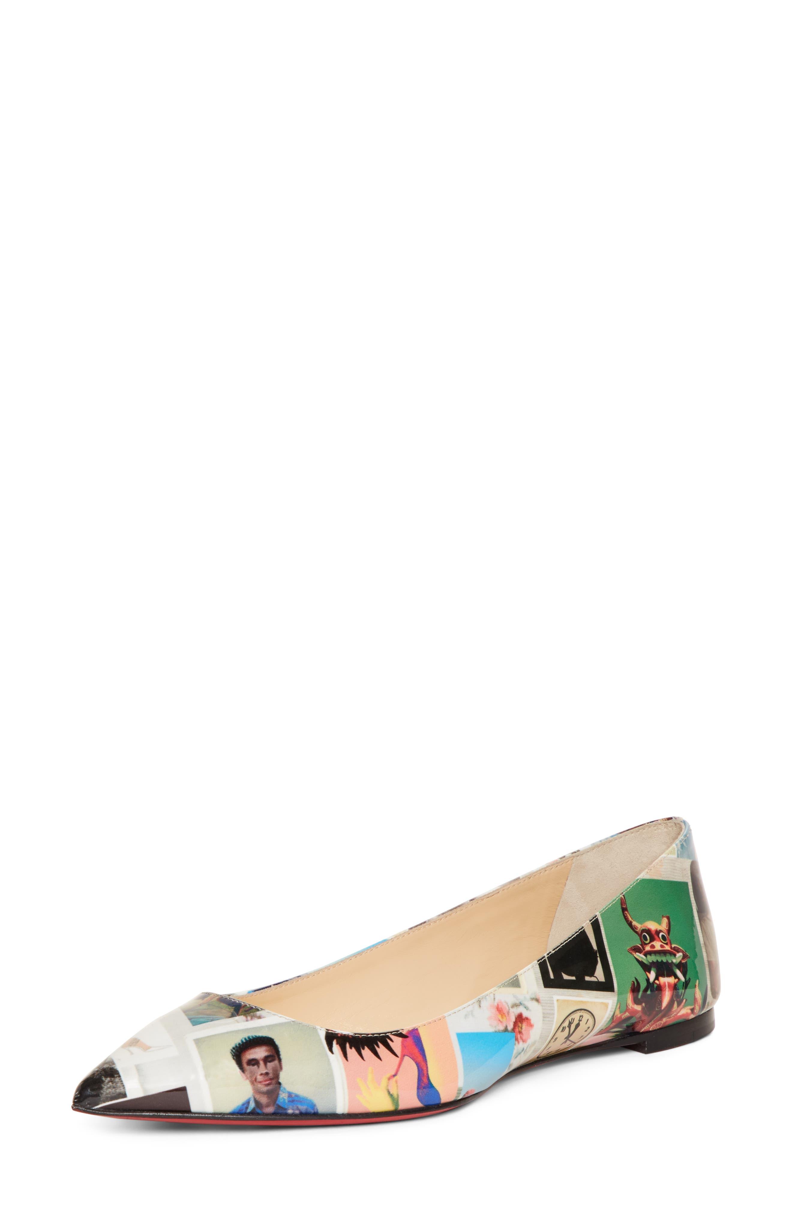Christian Louboutin Ballalla Collage Pointy Toe Flat - Black