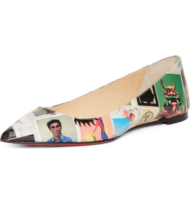 CHRISTIAN LOUBOUTIN Ballalla Collage Pointy Toe Flat, Main, color, COLLAGE