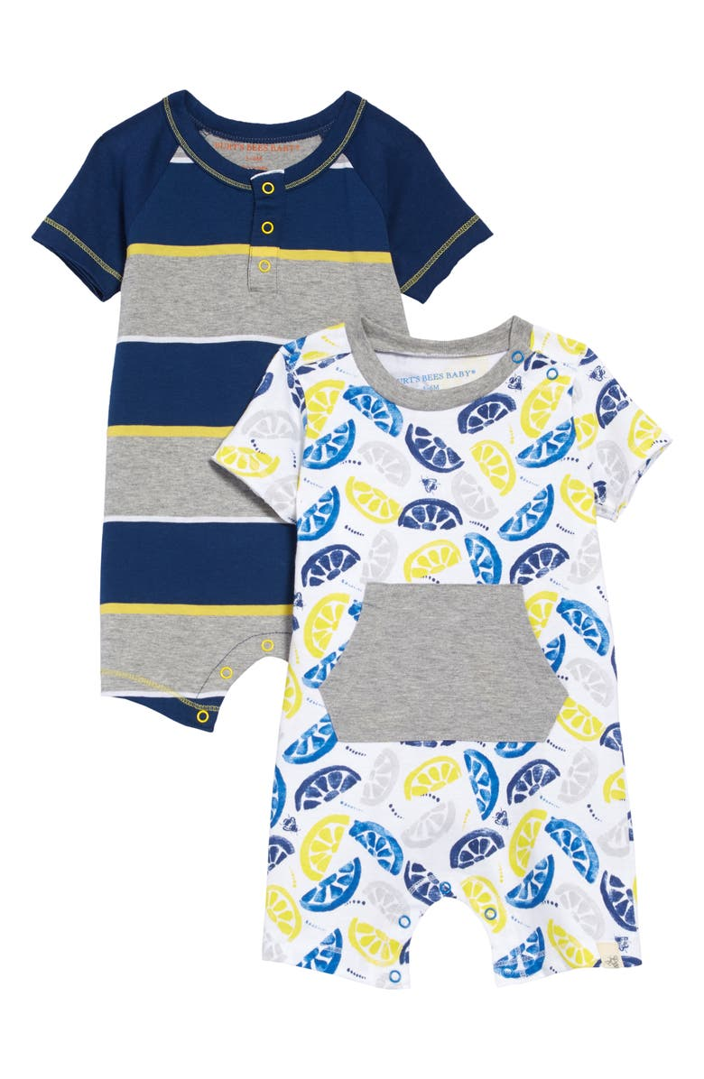 BURT'S BEES BABY 2-Pack Organic Cotton Rompers, Main, color, HEATHER GREY