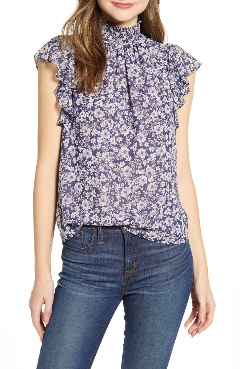 1.STATE Wildflower Bouquet Smocked Neck Blouse, Main, color, MOONSHADE MULTI