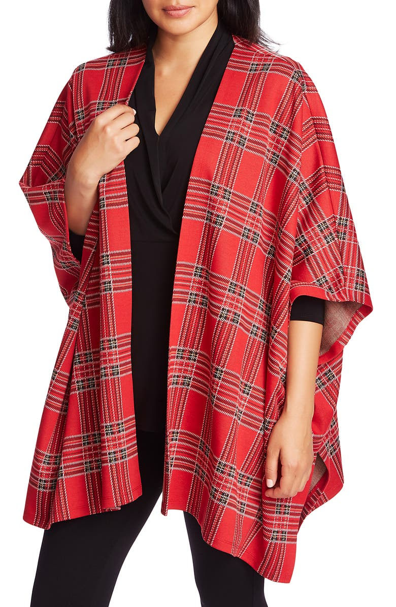 CHAUS Tartan Draped Cardigan, Main, color, MILAN ROUGE