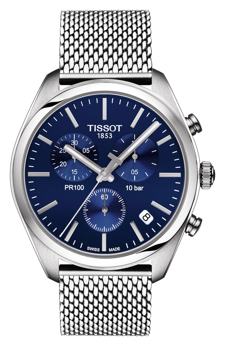TISSOT T-Classic PR100 Chronograph Mesh Bracelet Watch, 41mm, Main, color, 040