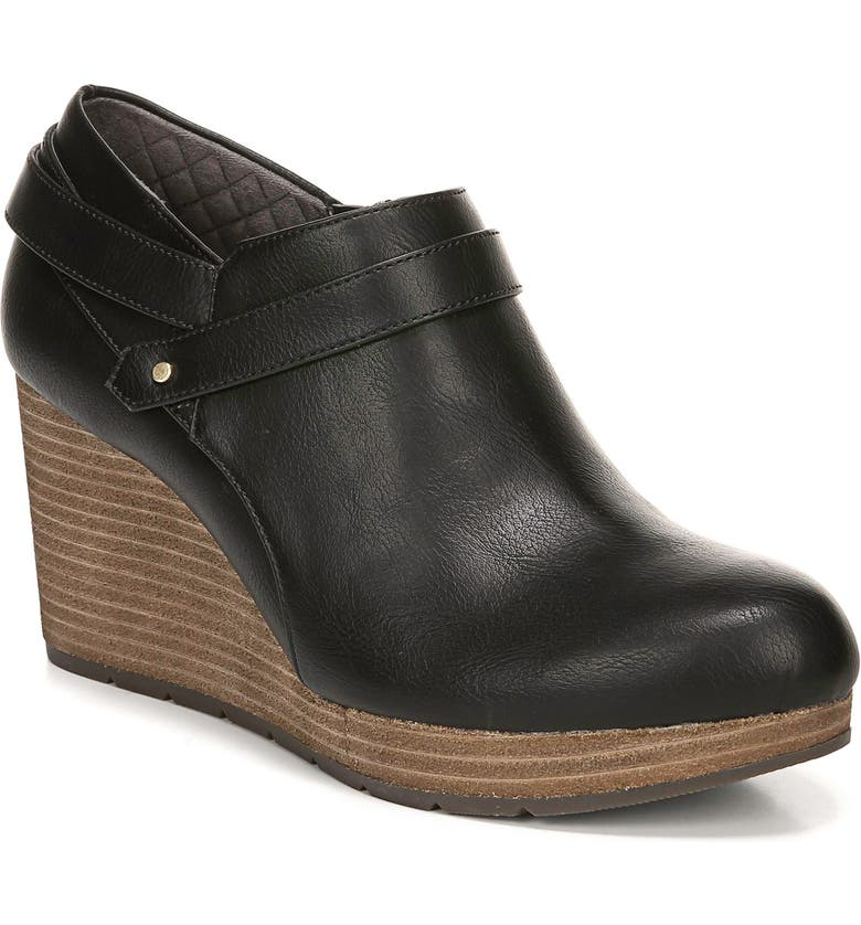 DR. SCHOLL'S What's Good Wedge Bootie, Main, color, BLACK SMOOTH FAUX LEATHER
