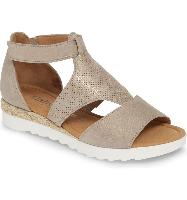 GABOR Casual Sandal, Main, color, BEIGE LEATHER