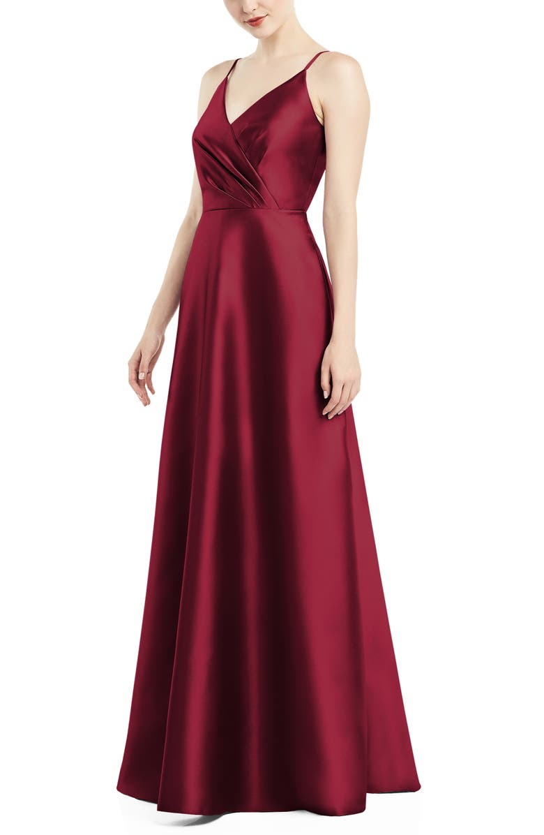 ALFRED SUNG Satin Twill A-Line Gown, Main, color, BURGUNDY