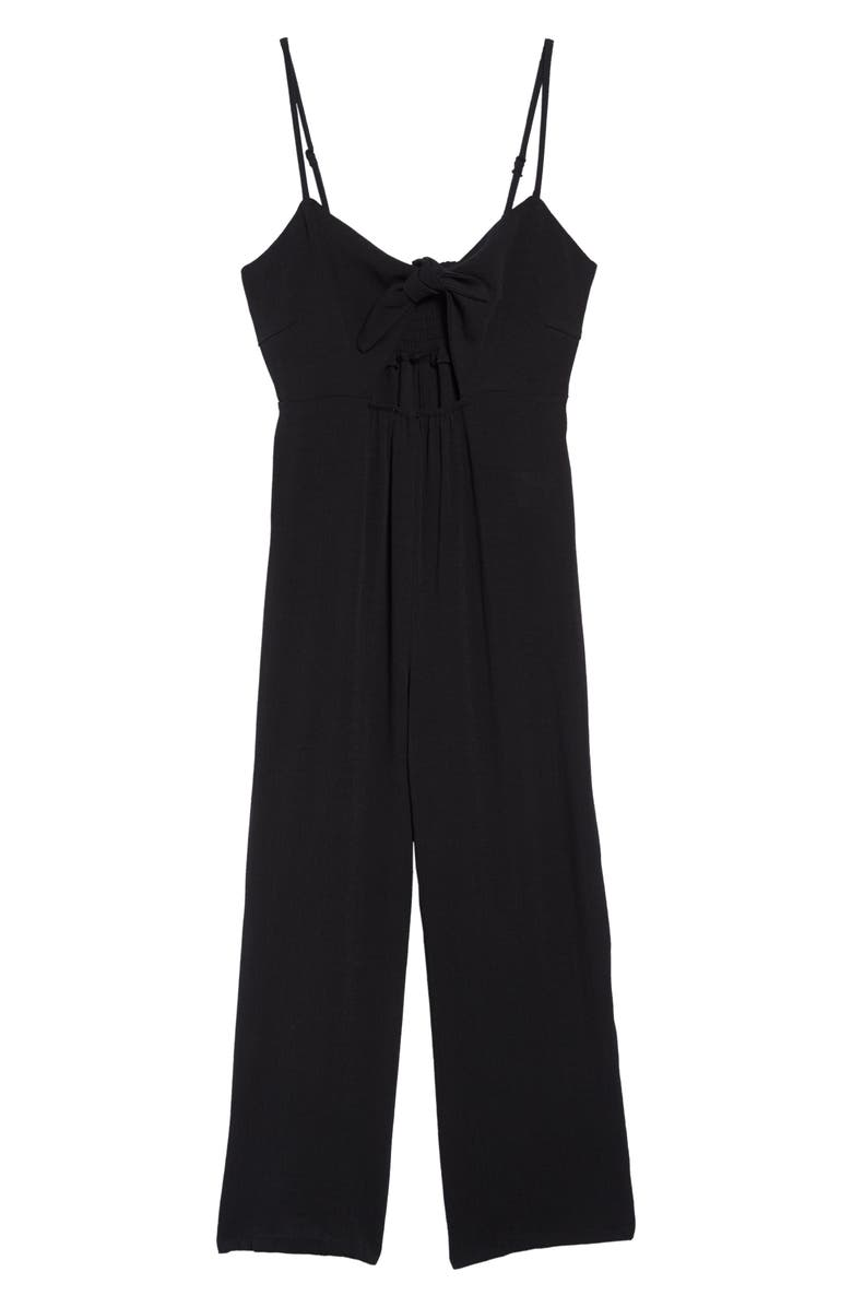 MIKEN SWIM Miken Crepe Tie Front Jumpsuit, Main, color, 001