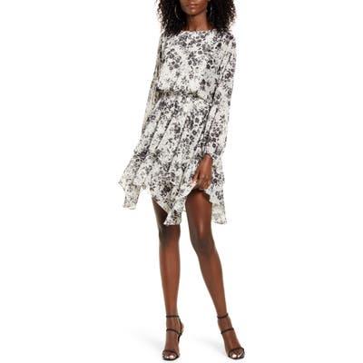 Socialite Floral Handkerchief Hem Long Sleeve Satin Dress, Ivory