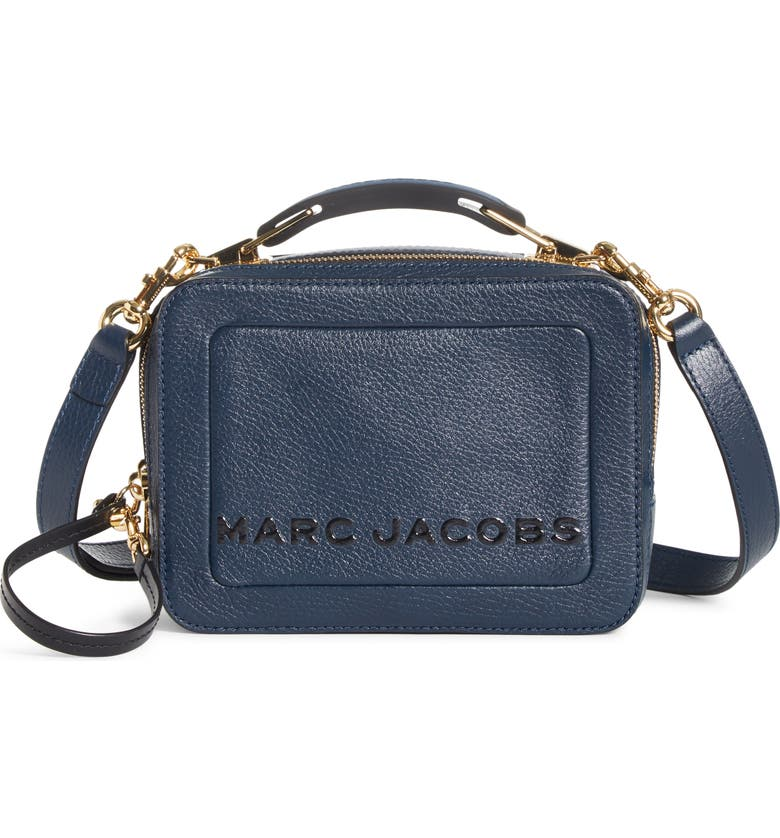 THE MARC JACOBS The Box 20 Leather Crossbody Bag, Main, color, BLUE SEA