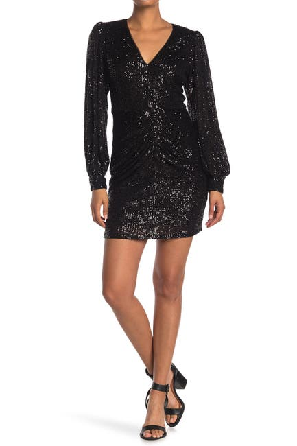 Image of Parker Ash Sequined Long Sleeve Dress