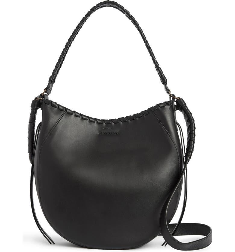 ALLSAINTS Courtney Leather Hobo, Main, color, BLACK