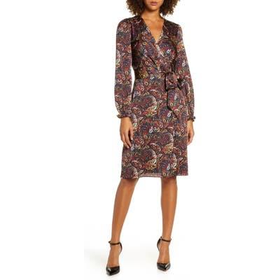 Chelsea28 Paisley Print Long Sleeve Faux Wrap Dress, Burgundy