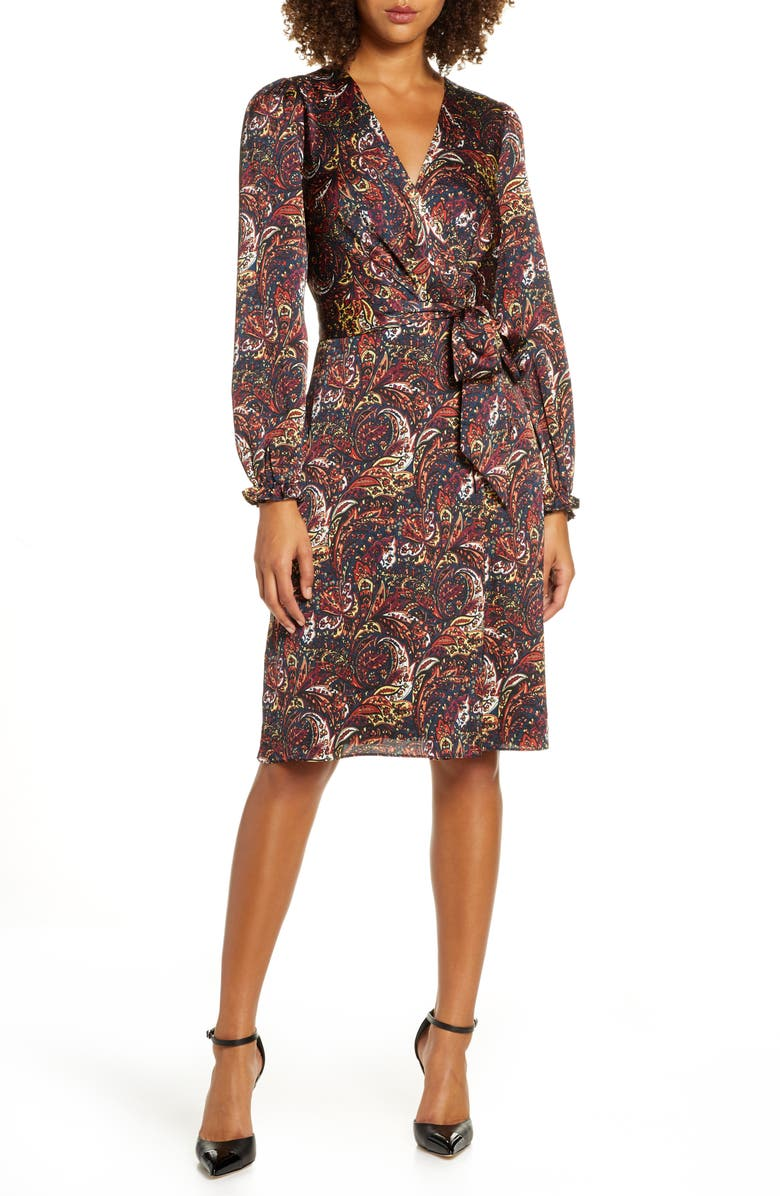 CHELSEA28 Paisley Print Long Sleeve Faux Wrap Dress, Main, color, PAISLEY PRINT
