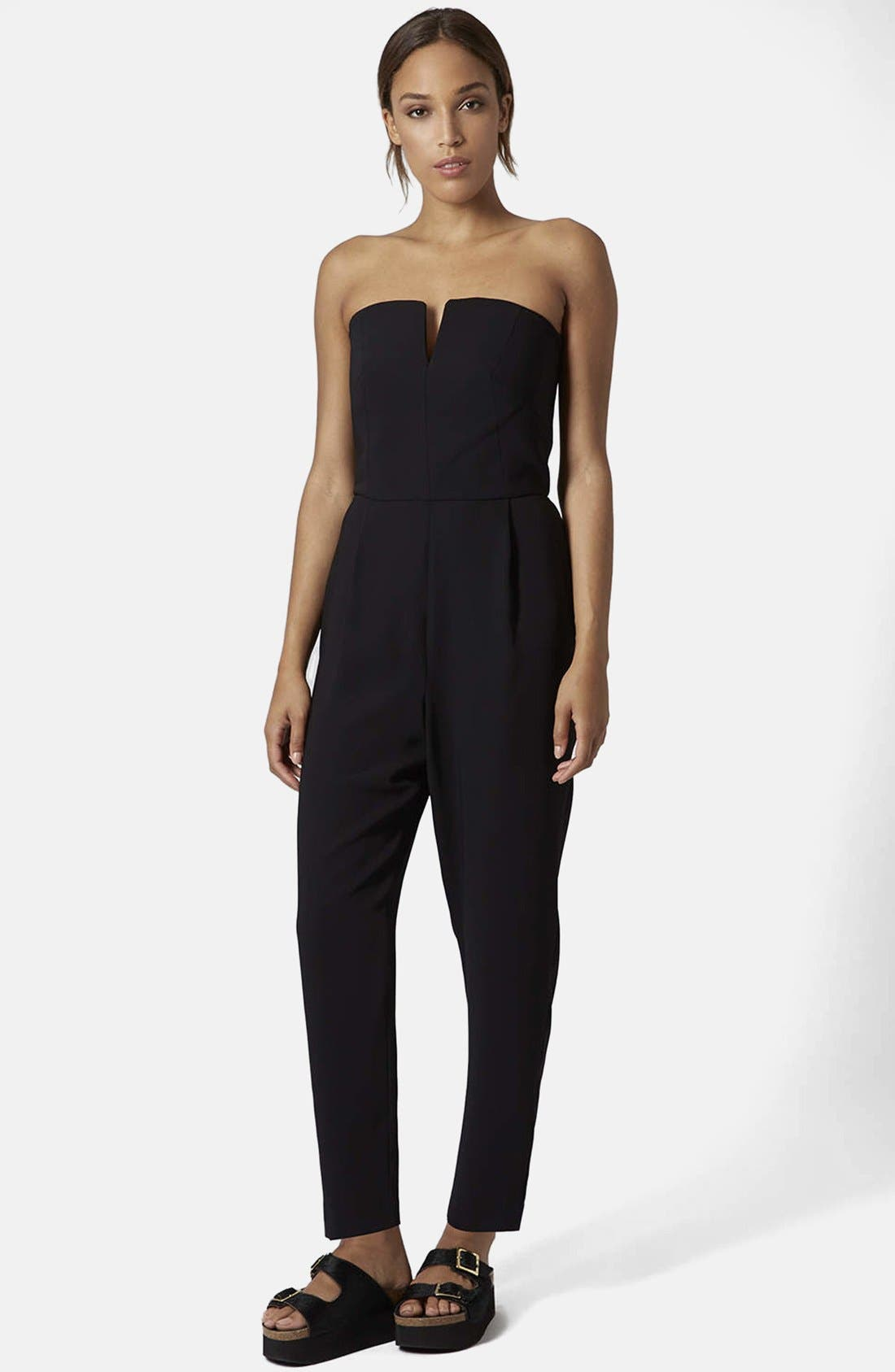 Plunge Bandeau Jumpsuit, Main, color, 001