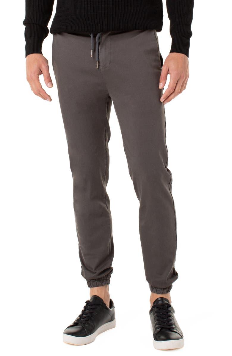 LIVERPOOL Twill Drawstring Jogger Pants, Main, color, OCEAN STORM