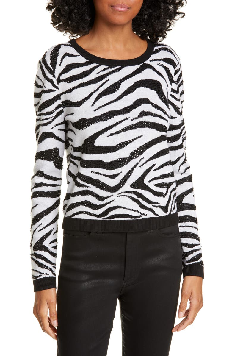 ALICE + OLIVIA Connie Animal Print Stud Detail Stretch Wool Sweater, Main, color, BLK/ WHITE