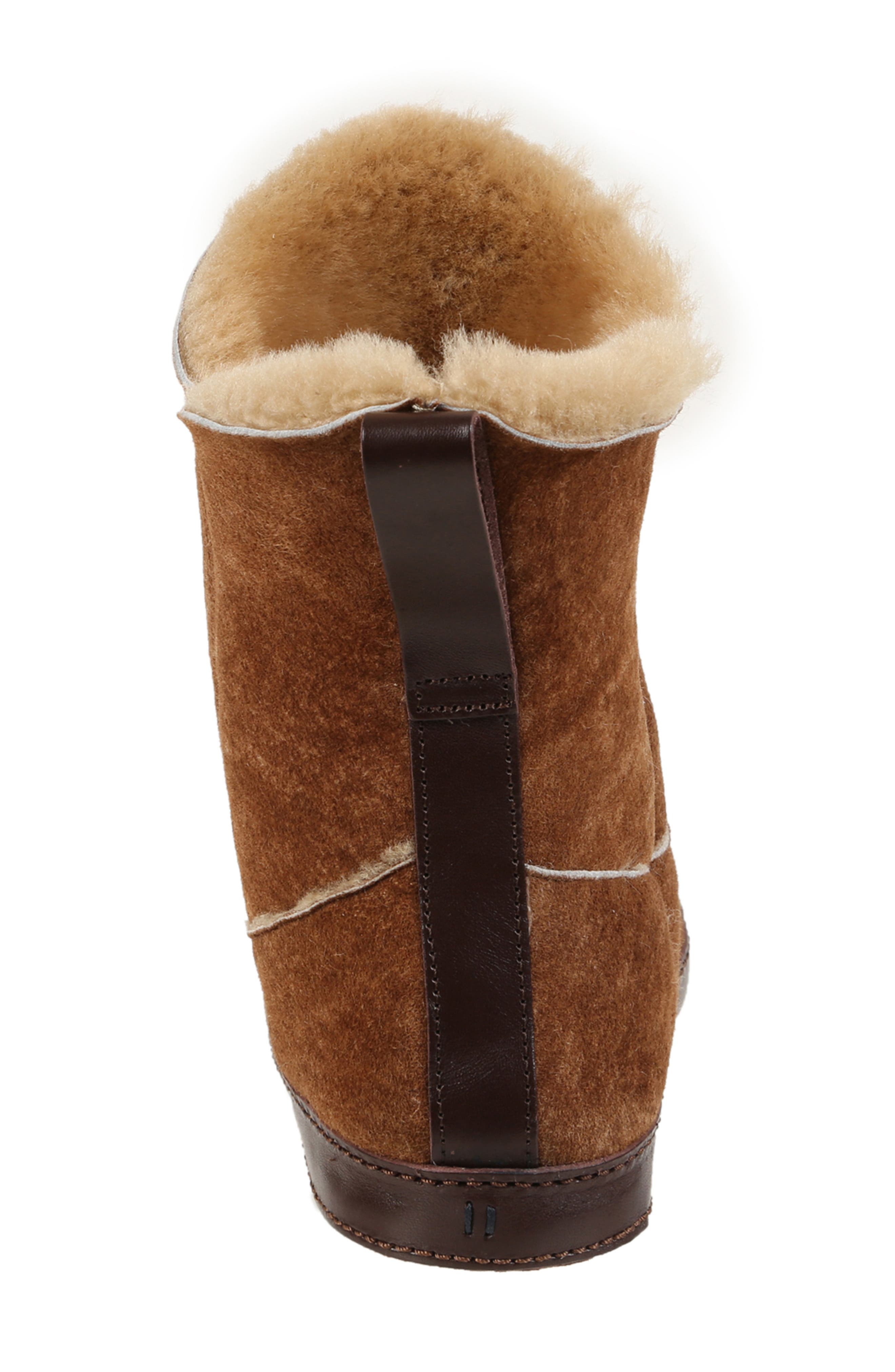 ,                             Gemma Genuine Shearling Slipper Bootie,                             Alternate thumbnail 6, color,                             STONE WASHED COGNAC