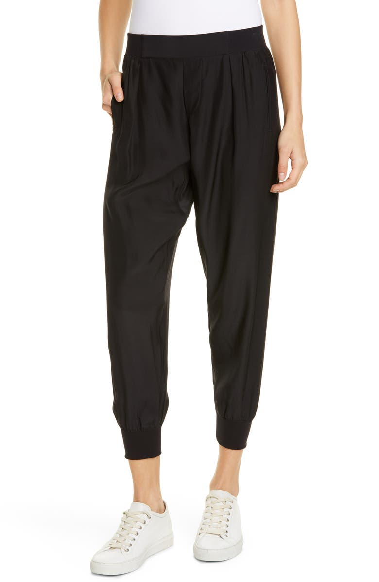 ATM ANTHONY THOMAS MELILLO Silk Jogger Pants, Main, color, BLACK