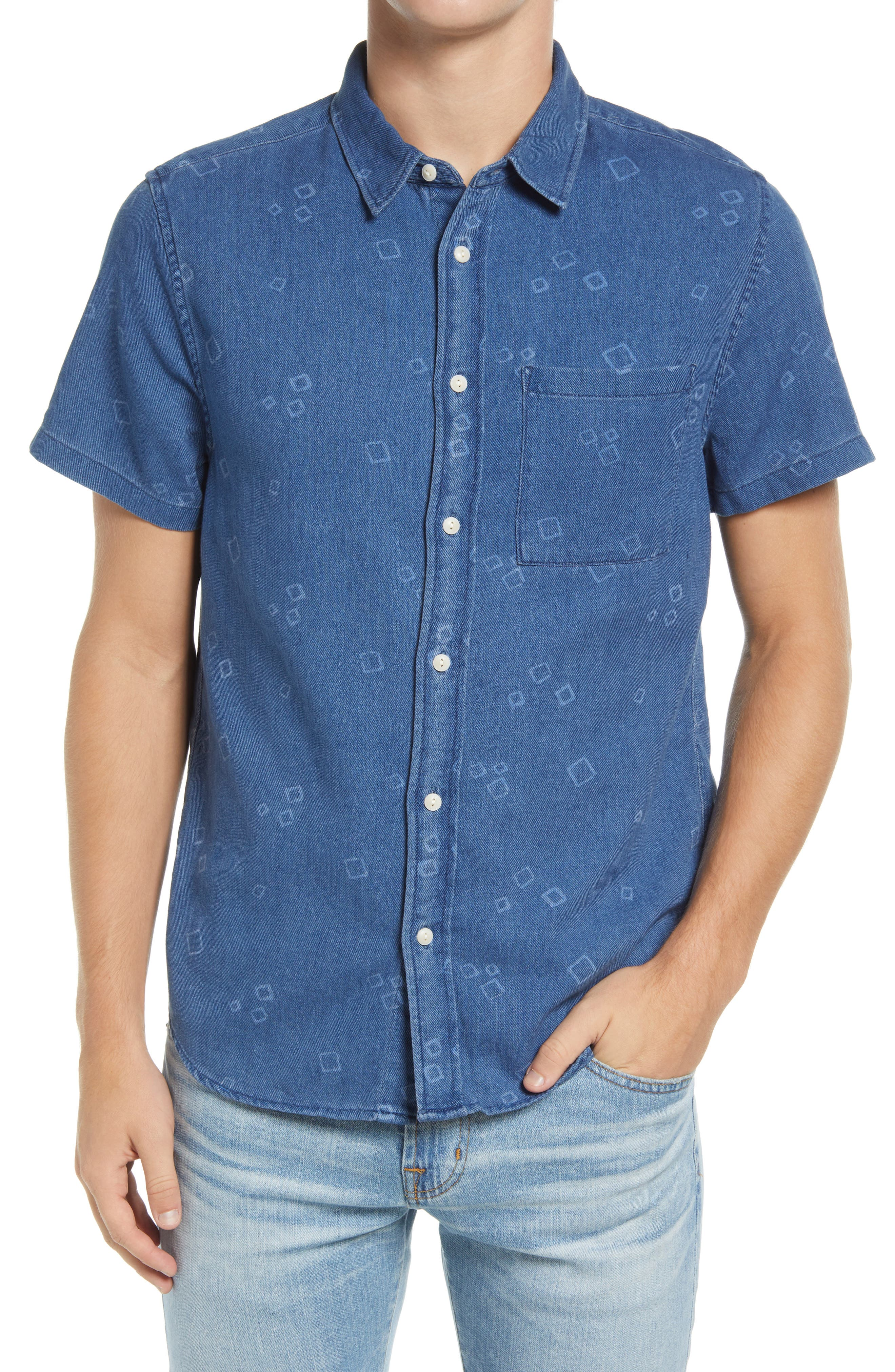 Perfect Slim Fit Mini Square Short Sleeve Button-Up Shirt