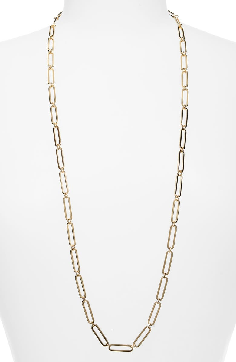 HALOGEN<SUP>®</SUP> Long Linear Link Chain Necklace, Main, color, GOLD