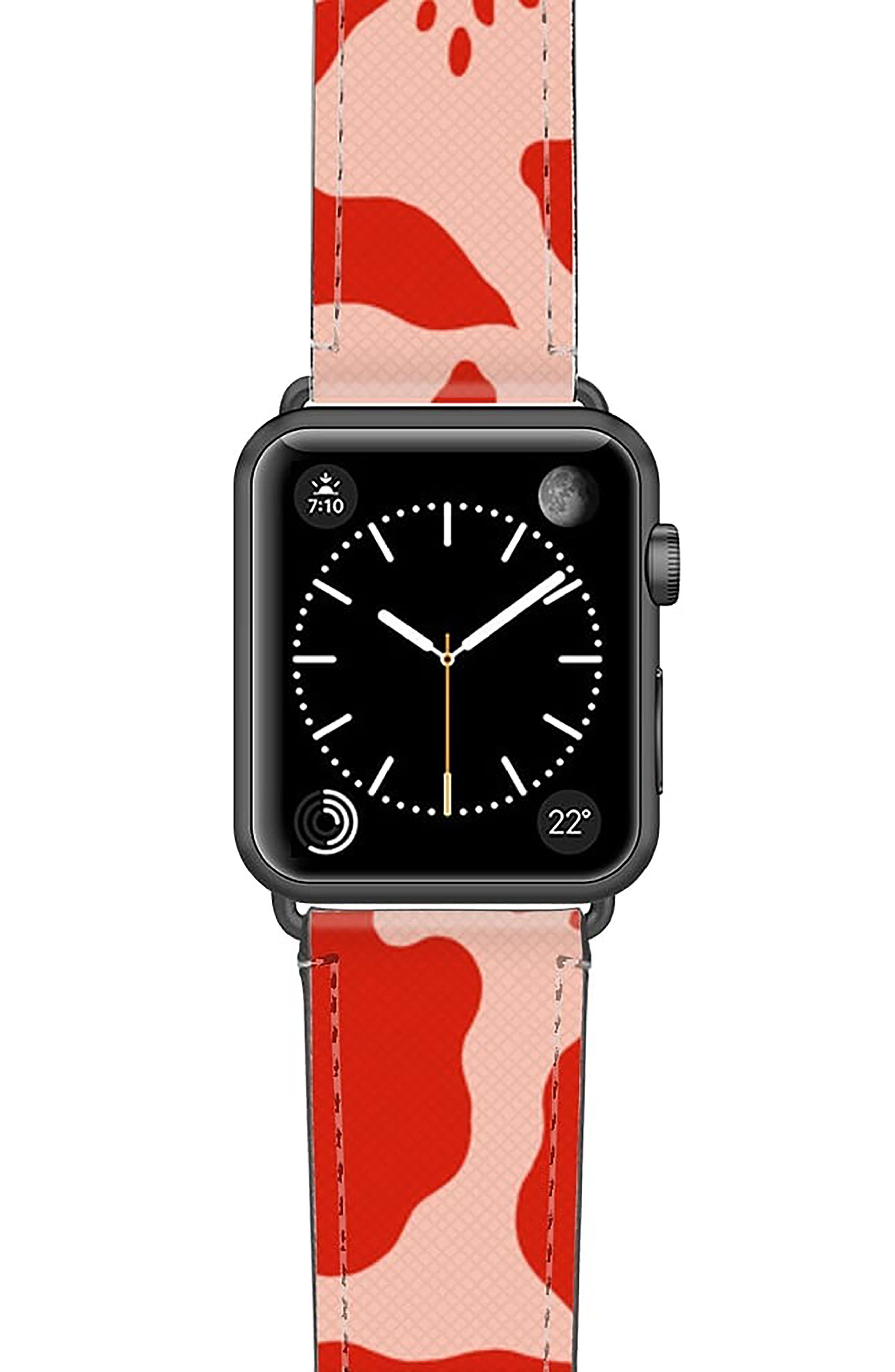 Red Abstract Saffiano Faux Leather Apple Watch Strap