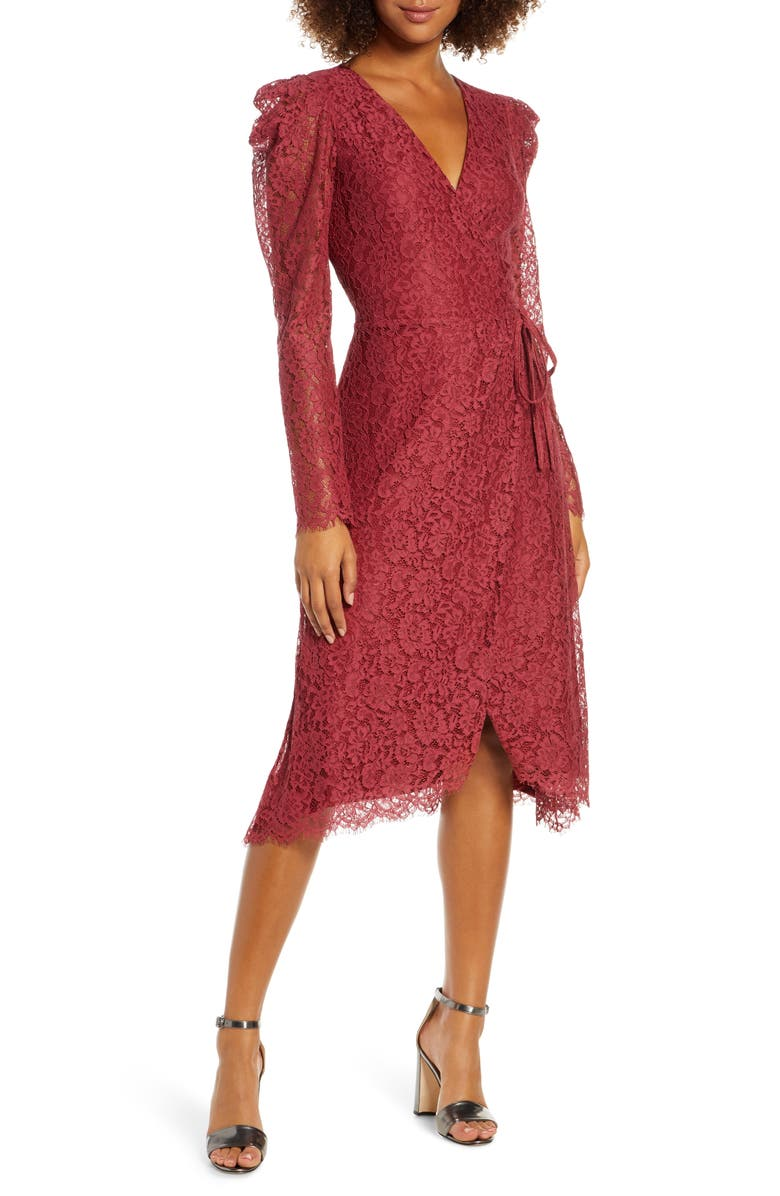 ALI & JAY Hollywood Heights Long Sleeve Lace Wrap Dress, Main, color, ROSE