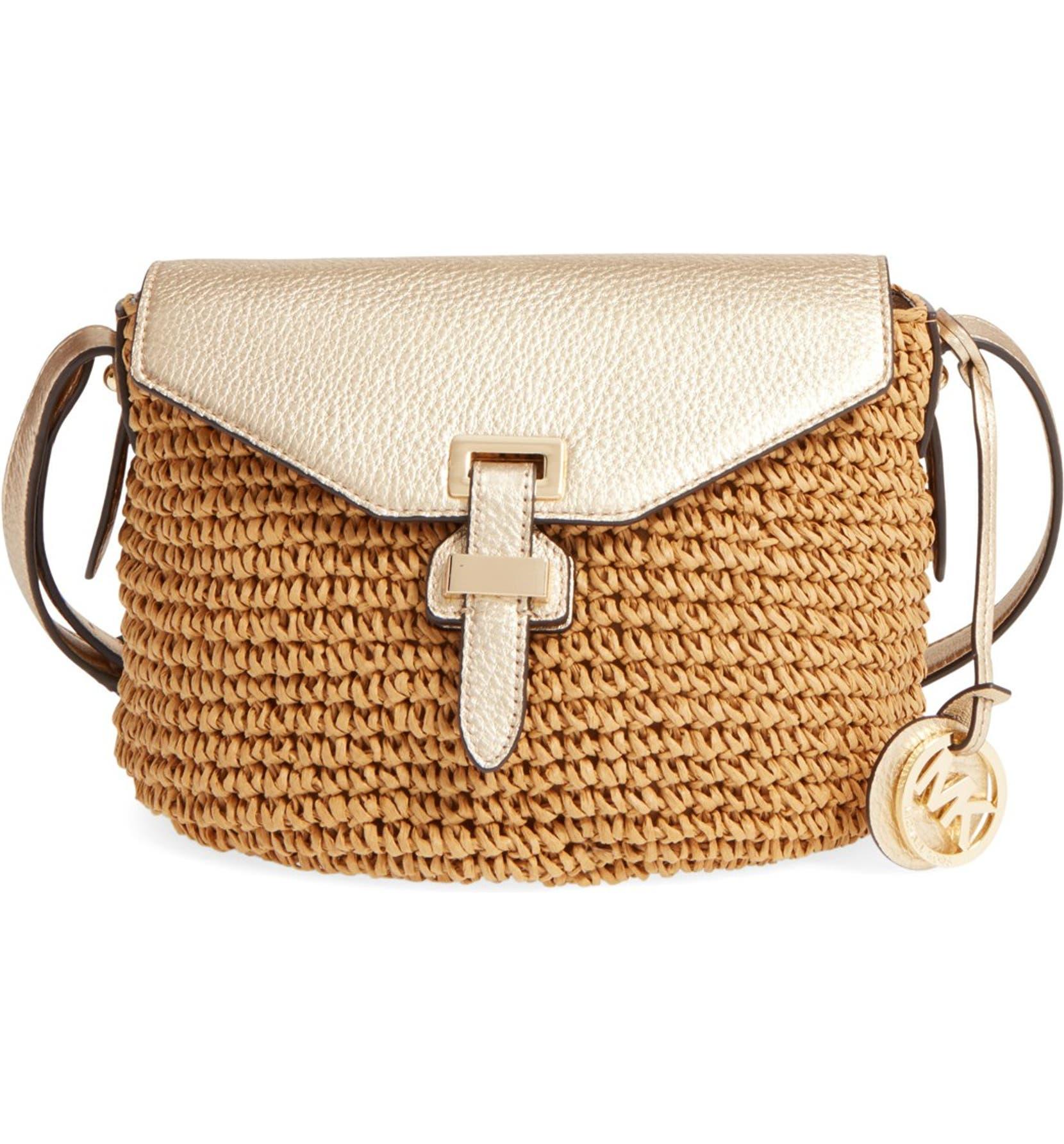 c68d2389557e MICHAEL Michael Kors 'Medium Naomi' Straw Crossbody Bag | Nordstrom