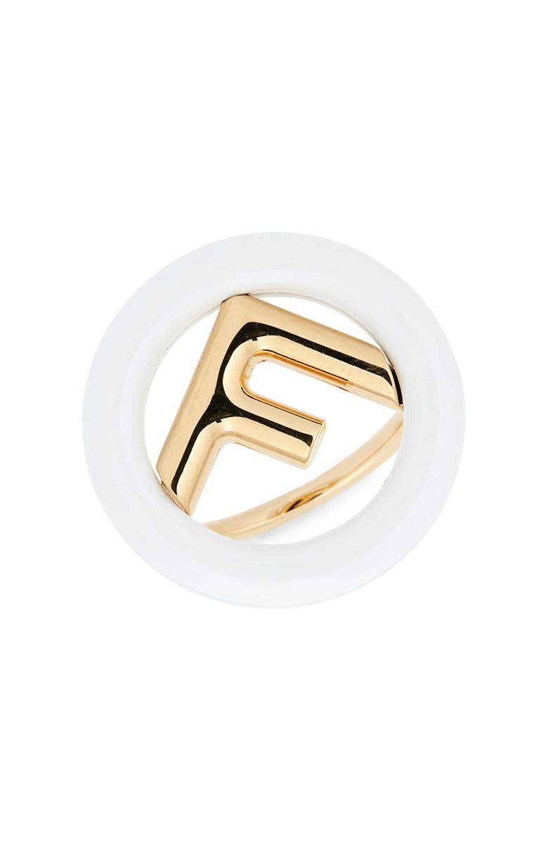 FENDI F is For Fendi Statement Ring, Main, color, WHITE