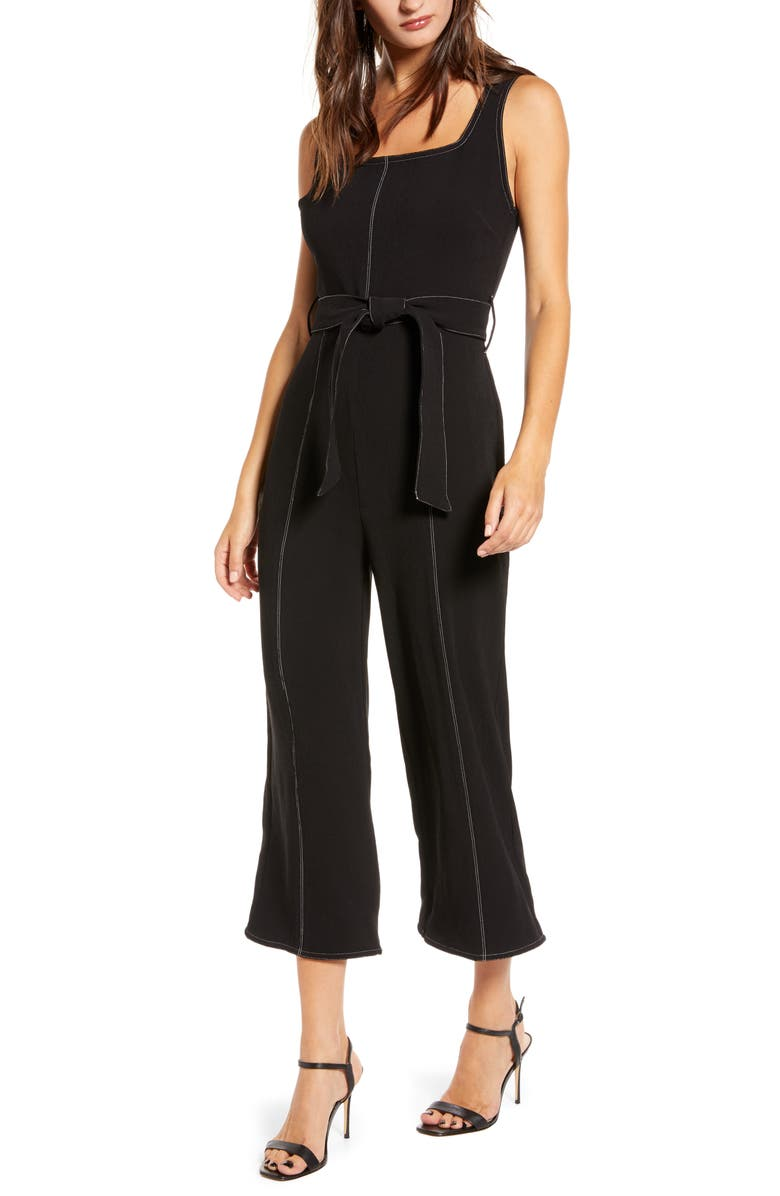 ALL IN FAVOR Topstitch Tie Front Sleeveless Jumpsuit, Main, color, BLACK