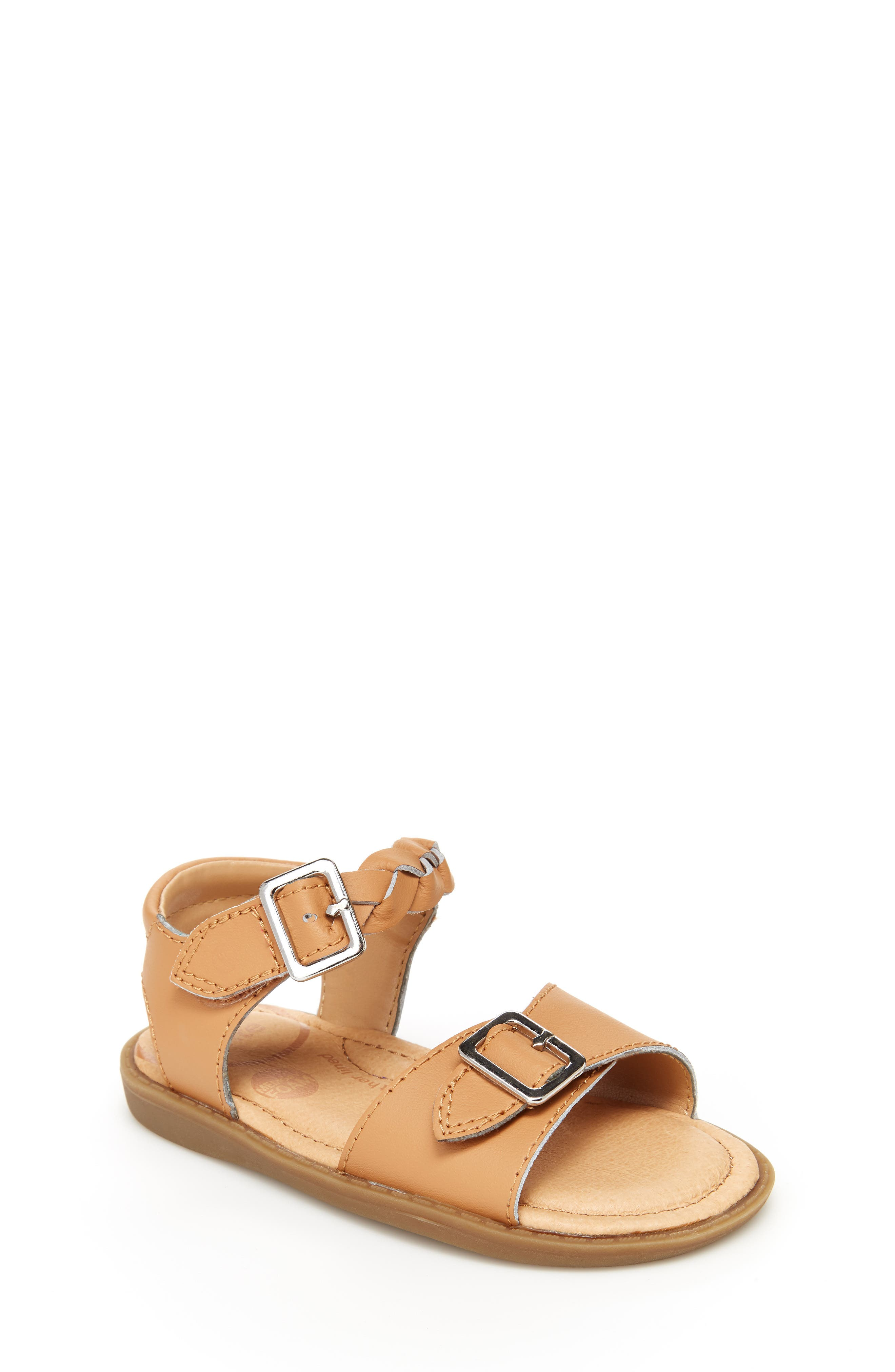 A braided ankle strap adds a pretty touch to a buckled sandal fitted with a cushy memory foam footbed-so it\\\'s cute and comfy for the playground or the party. Style Name: Stride Rite Naomi Sandal (Baby, Walker & Toddler). Style Number: 5778479. Available in stores.