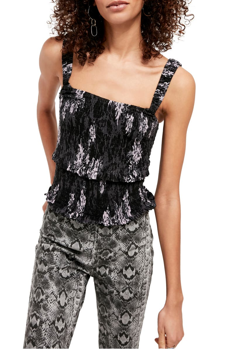 FREE PEOPLE Hannah Print Camisole, Main, color, BLACK COMBO
