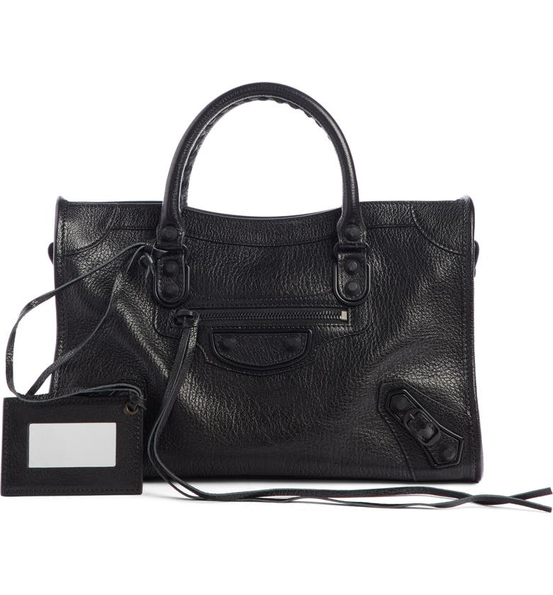 BALENCIAGA Mini Classic City Calfskin Leather Satchel, Main, color, 001