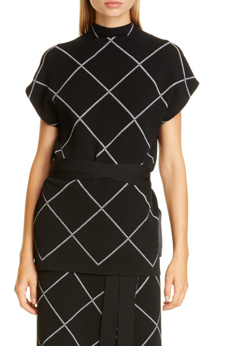 PROENZA SCHOULER Windowpane Check Knit Mock Neck Top, Main, color, BLACK/ OPTIC WHITE