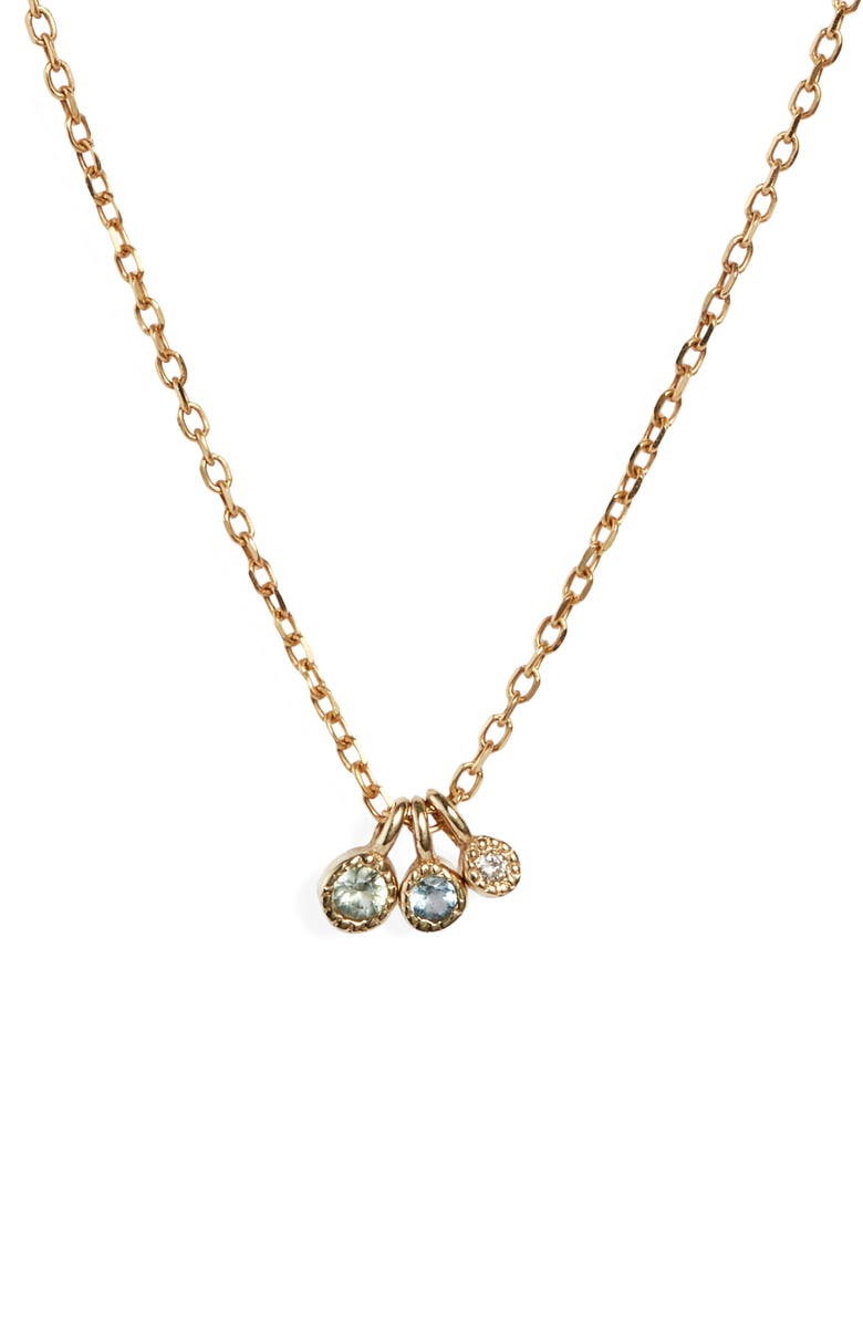 JENNIE KWON DESIGNS Moon Drop Necklace, Main, color, YELLOW GOLD/ GREEN SAPPHIRE