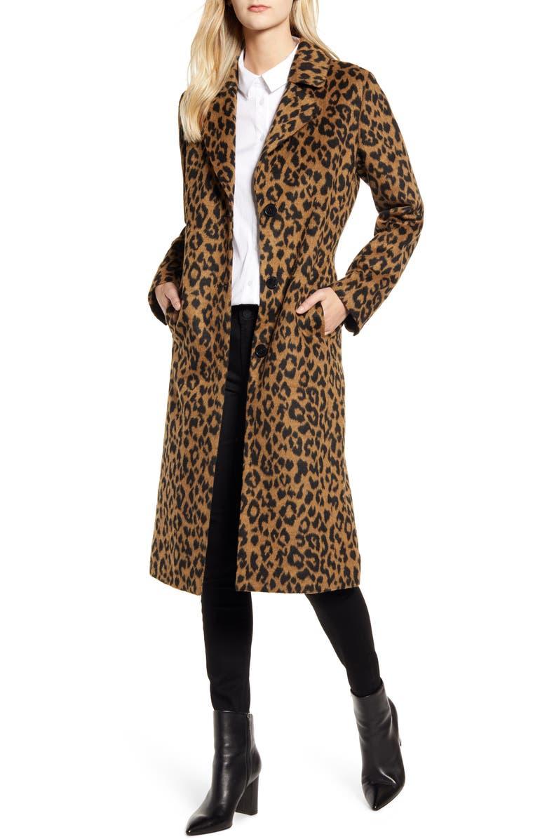 BERNARDO Leopard Print Coat, Main, color, LEOPARD