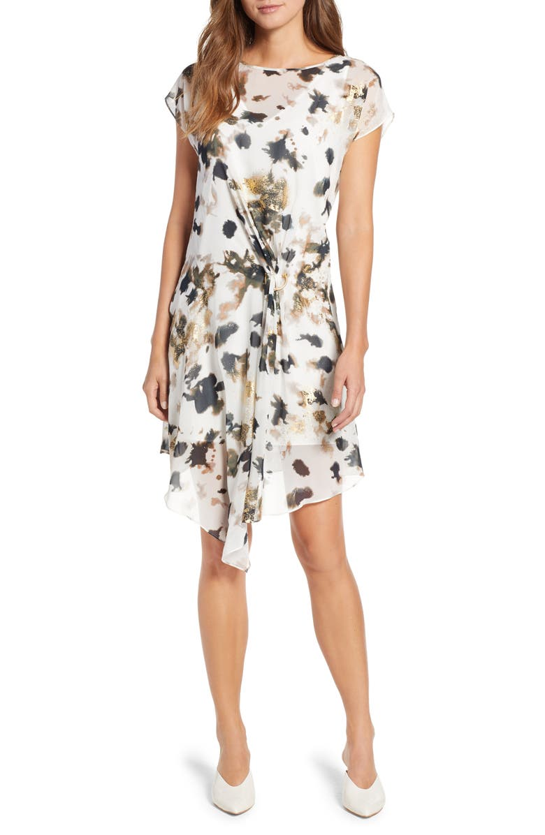 KENNETH COLE NEW YORK Gathered Front A-Line Dress, Main, color, URBAN CAMO-MULTI
